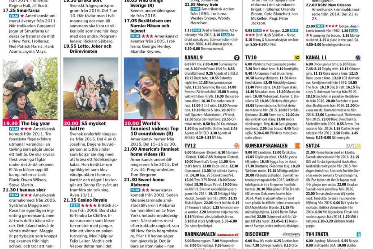 Tv4 tablå lördag