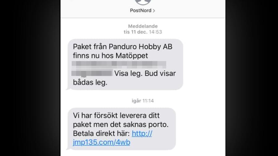 """Så här kan sms et se ut. Det hamnar i samma """"konversationstråd"""" som vanliga  sms från Postnord. 9b66f6dbb8a7f"""